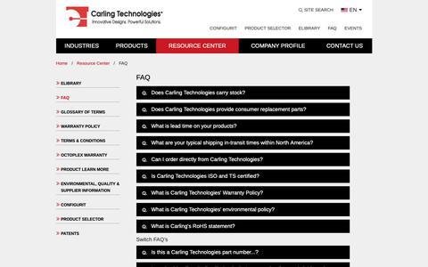 Screenshot of FAQ Page carlingtech.com - FAQ | carlingtech.com - captured March 21, 2019
