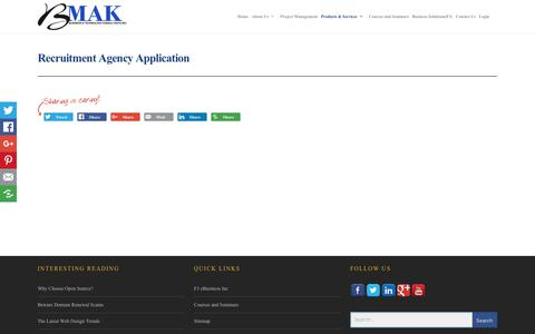Screenshot of Products Page bmak.ca - Recruitment Agency Application - BMAK | Business and Technology Consultants Inc. - captured Oct. 9, 2017