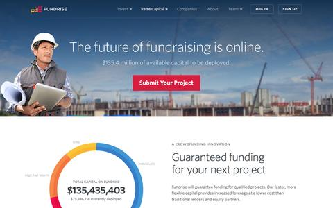 Screenshot of fundrise.com - Raise Capital with Fundrise | Fundrise - captured March 19, 2016