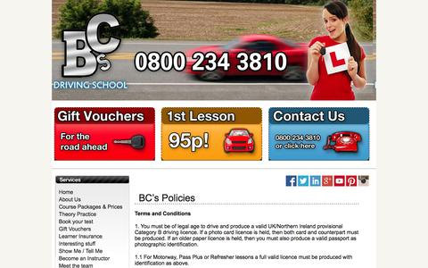 Screenshot of Terms Page bcsdrivingschool.co.uk - Terms & Conditions - BC's Driving School Quality Driving Lessons at the best price - captured Sept. 30, 2014