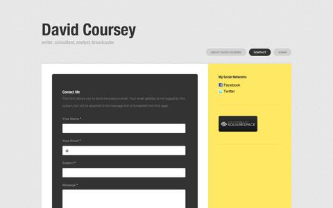 Screenshot of Contact Page squarespace.com - Contact David Coursey - David Coursey - captured Sept. 11, 2014