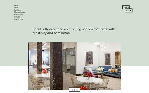 Screenshot of Home Page yourdesk.com.au - Your Desk – Beautifully designed co-working spaces that buzz with creativity and commerce - captured June 18, 2017