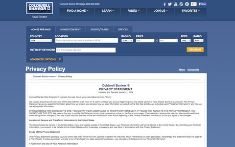 Screenshot of Privacy Page coldwellbanker.com - Privacy Statement | Coldwell Banker - captured Nov. 2, 2014