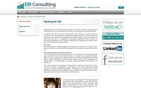 Screenshot of Jobs Page ebiconsulting.com - Working for EBI | EbiConsulting.com - captured Sept. 19, 2014