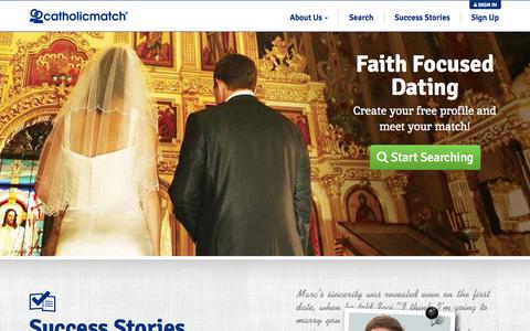 Screenshot of Home Page catholicmatch.com - Catholic Dating and Catholic Singles | CatholicMatch.com ® - captured July 3, 2015