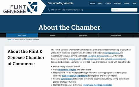 Screenshot of About Page flintandgenesee.org - About the Flint & Genesee Chamber - Flint and Genesee Chamber of Commerce - captured Dec. 18, 2016