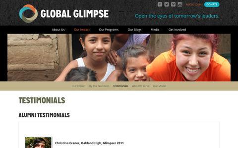 Screenshot of Testimonials Page globalglimpse.org - Testimonials | Global Glimpse - captured May 18, 2017
