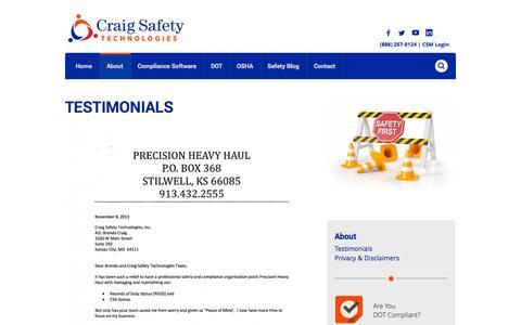 Screenshot of Testimonials Page craigsafetytechnologies.com - Customer Testimonials | Craig Safety - captured Oct. 2, 2014