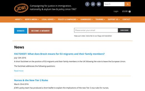 Screenshot of Press Page jcwi.org.uk - News | Joint Council for the Welfare of Immigrants - captured Oct. 16, 2017