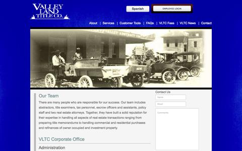 Screenshot of Team Page valleylandtitleco.com - Our Team | Valley Land Title Co. - captured Oct. 27, 2014