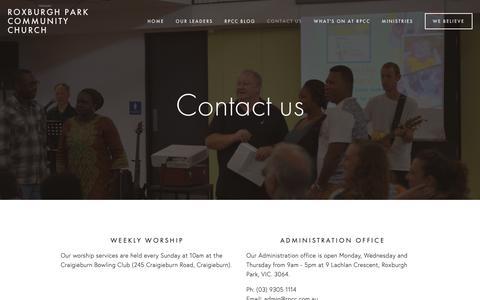 Screenshot of Contact Page rpcc.com.au - Contact Us — Roxburgh Park Community Church - captured Oct. 20, 2018