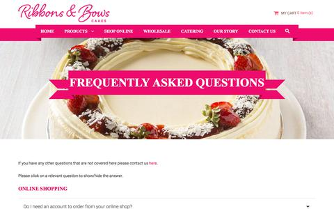 Screenshot of FAQ Page ribbonsandbowscakes.com.au - Frequently Asked Questions - Ribbons and Bows Cakes - captured Sept. 21, 2018