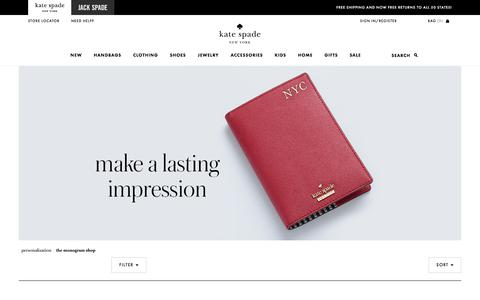Screenshot of katespade.com - Monogramming for a Personal Touch - Handbags & More! | Kate Spade New - captured Aug. 25, 2017