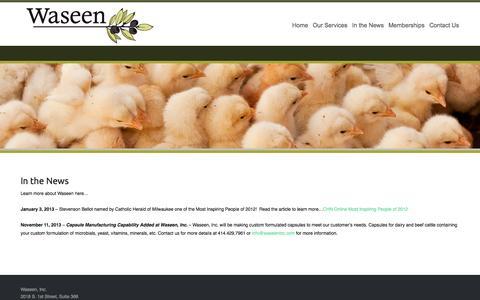 Screenshot of Press Page waseeninc.com - In the News | Waseen Inc. - captured Sept. 30, 2014