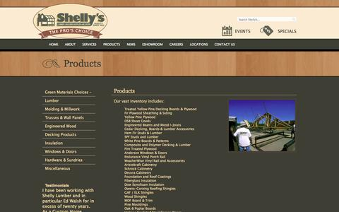 Screenshot of Products Page shellysproschoice.com - Products «  Shelly's Lumber - captured Oct. 4, 2014