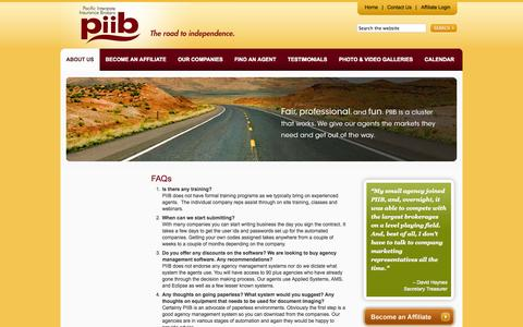 Screenshot of FAQ Page piib.com - FAQs - Pacific Interstate Insurance Brokers -- Membership Organization for Independent Insurance Agencies - captured Oct. 1, 2014