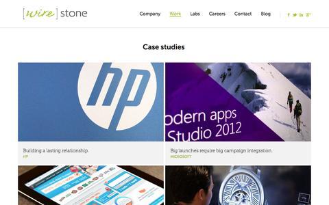 Screenshot of Case Studies Page wirestone.com - Our Work | Portfolio of Wire Stone Client Case Studies - captured Sept. 24, 2014