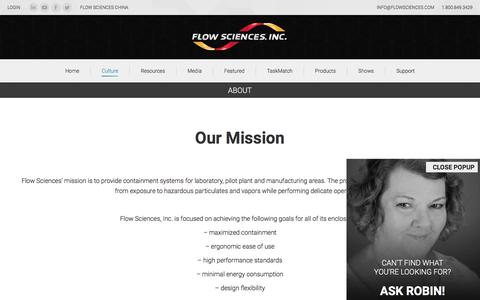 Screenshot of About Page flowsciences.com - About - Flow Sciences - captured Oct. 14, 2017