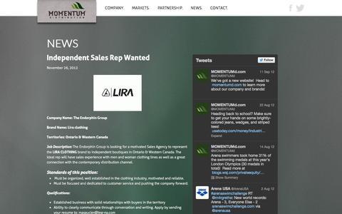 Screenshot of Press Page momentumd.com - News | Momentum Distribution - captured Oct. 4, 2014
