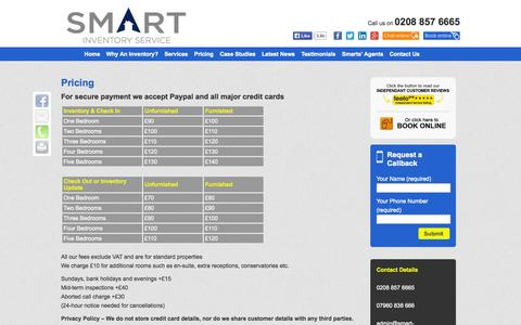 Screenshot of Pricing Page smart-inventory.co.uk - Pricing - Inventory Clerk, Inventory Services in London Kent Surrey | Smart Inventory - captured Oct. 9, 2014