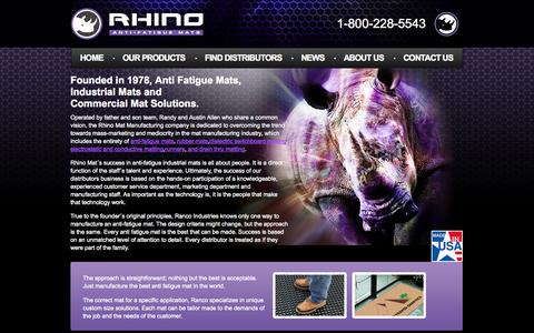 Screenshot of Home Page rhinomats.com - Anti-Fatigue Mats | Commercial Mats | Industrial Mats - RhinoMats.com - captured Oct. 6, 2014