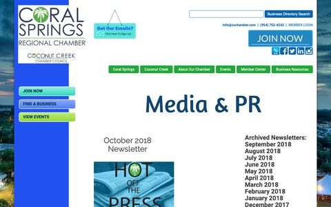 Screenshot of Press Page cschamber.com - Media/PR - Coral Springs Regional Chamber of Commerce - captured Sept. 29, 2018
