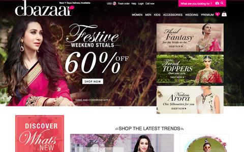 Screenshot of Home Page cbazaar.com - Buy Indian Dresses Online| Indian Saris,Salwar Kameez,Lehenga,Kurti,Sherwani Online at Cbazaar.com - captured Jan. 15, 2016