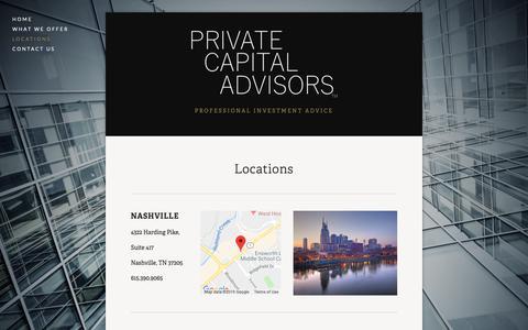 Screenshot of Locations Page privatecapitaladvisors.com - Locations — Private Capital Advisors - captured Feb. 15, 2019