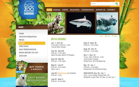 Screenshot of Hours Page pdza.org - Hours > Point Defiance Zoo & Aquarium - captured Nov. 9, 2016