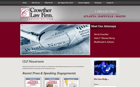 Screenshot of Press Page clf-law.com - News Room - captured Oct. 3, 2014