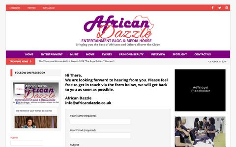 Screenshot of Contact Page africandazzle.co.uk - Contact Us - African Dazzle - captured Oct. 25, 2018