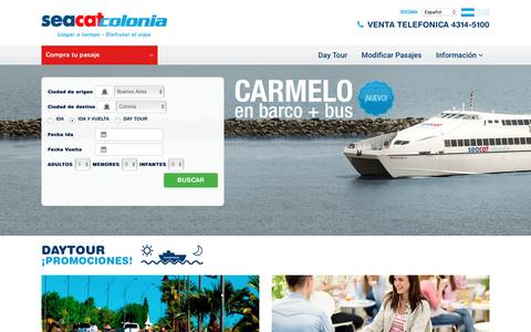Screenshot of Home Page seacatcolonia.com.ar - Seacat Colonia | Pasajes a Buenos Aires Colonia. Tarifas para Colonia, Uruguay. Viajes a Colonia y Buenos Aires - captured Feb. 29, 2016
