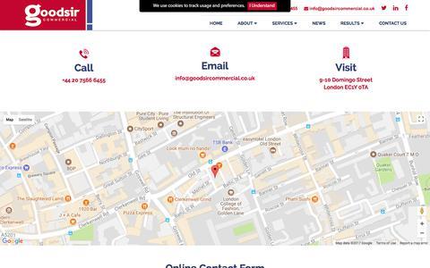 Screenshot of Contact Page goodsircommercial.co.uk - Goodsir Commercial - Contact Us - captured Aug. 28, 2017