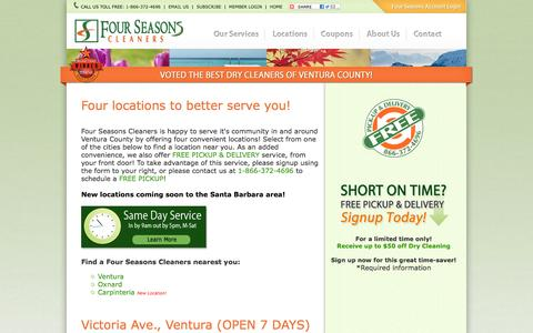 Screenshot of Locations Page 4seasonscleaners.net - Dry Cleaners in Ventura, California - Four Seasons Cleaners - captured Oct. 6, 2014