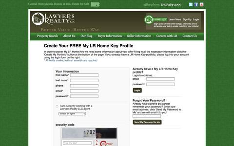 Screenshot of Login Page lawyersrealtypa.com - My LR Home Key - Login - captured Jan. 26, 2016