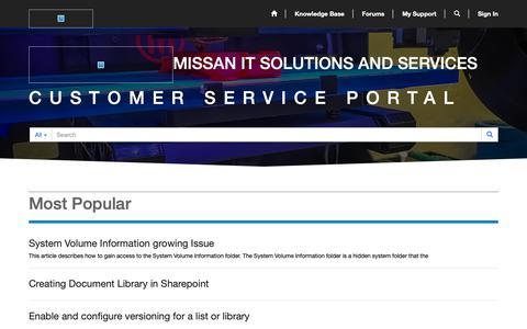 Screenshot of Support Page missancomputer.com - Home· Missan Customer Service Portal - captured Oct. 20, 2018