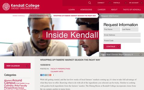 Screenshot of Blog kendall.edu - Wrapping Up Famers' Market Season the Right Way - Kendall College - captured Nov. 13, 2016