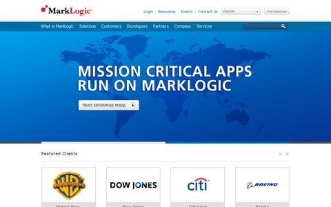 Screenshot of Home Page marklogic.com - Enterprise NoSQL Database | MarkLogic - captured July 12, 2014