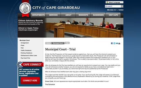Screenshot of Trial Page cityofcapegirardeau.org - City of Cape Girardeau - Municipal-Court-Trial - captured Sept. 19, 2014