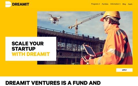 Screenshot of Home Page dreamit.com - Dreamit Ventures - captured July 6, 2019