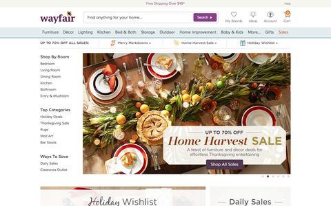 Screenshot of Home Page wayfair.com - Wayfair.com - Online Home Store for Furniture, Decor, Outdoors & More | Wayfair - captured Nov. 4, 2015