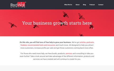 Screenshot of Home Page redwallmarketing.com - Business & Marketing Strategies for Small Business - Red Wall Marketing - captured Jan. 11, 2016