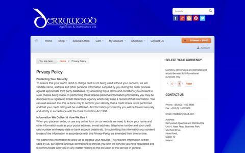 Screenshot of Privacy Page derrywood.com - Privacy Policy - Derrywood Agencies & Distributors - captured Oct. 5, 2014