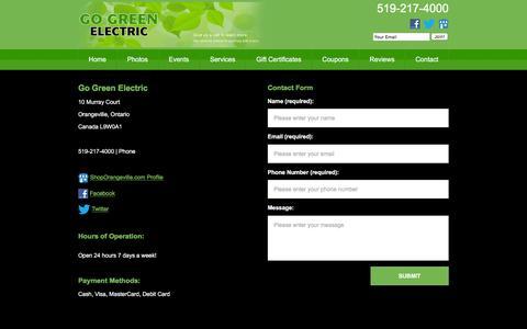 Screenshot of Hours Page ggecanada.ca - Electrician Orangeville - captured March 5, 2016
