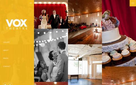 Screenshot of Home Page voxtheatre.com - Vox Theatre, Kansas City Wedding Venue - captured Jan. 22, 2015