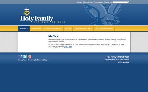 Screenshot of Menu Page holyfamilydbq.org - Menus & Nutrition - Holy Ghost Elementary - Holy Family Catholic Schools - captured June 2, 2016