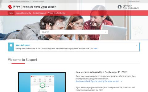 Antivirus Plus Security Support - Welcome to Support -  Home and Home Office Support | Trend Micro