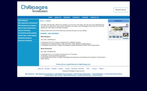 Screenshot of Jobs Page chillipages.com - Web Design India, Website Design India, Web Design Firm, Web Design Mangalore - captured March 18, 2016