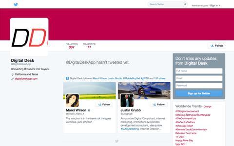 Screenshot of Twitter Page twitter.com - Digital Desk (@DigitalDeskApp) | Twitter - captured Oct. 23, 2014