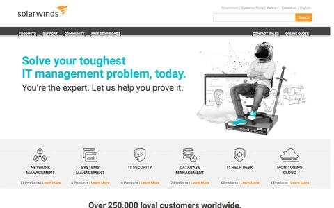 Screenshot of Home Page solarwinds.com - IT Management Software & Monitoring Tools | SolarWinds - captured May 6, 2017